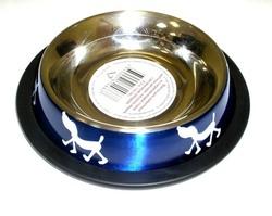 """DOGMAN Миска металлическая №0 на резинке, красная """"Собачки"""", 0,3л/10,5см"""
