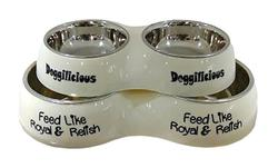 DOGMAN Миска для собак двойная металлическая на пластиковой подставке