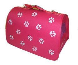 DOGMAN Сумка -переноска для собак Лира №3 Лапки, красная, 44*27*27см