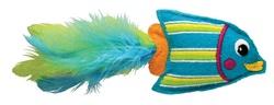 Kong Игрушка для кошек Тропическая рыбка 12 см фетр/перья/кошачья мята голубая
