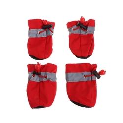 Al1 Ботиночки для собак красные на флисе, размер №2