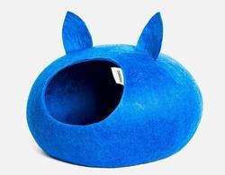 Zoobaloo Домик Уютное гнездышко с ушками, шерсть, синий, L, 40x40x20см