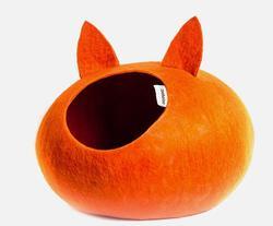 Zoobaloo Домик Уютное гнездышко с ушками, шерсть, оранжевый, L, 40x40x20см