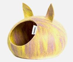 Zoobaloo Домик Уютное гнездышко с ушками, шерсть, желтый, L, 40x40x20см
