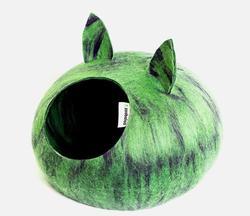 Zoobaloo Домик Уютное гнездышко с ушками, шерсть, салатовый, L, 40x40x20см