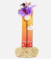 Zoobaloo Когтеточка сизалевый шарик с пером на пружине на сизалевой подставке 25 см