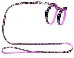 Hunter Smart шлейка для кошек и собак Sings нейлон коричнево-розовая