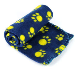 Al1 Плед для собак синий с лапками, размер 60х70см