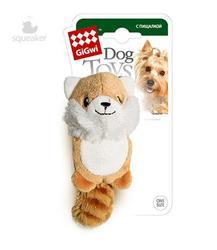 GiGwi Игрушка для собак Лисичка с двумя пищалками, 10см
