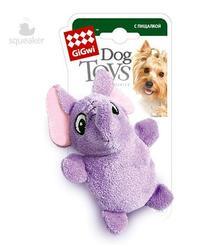 GiGwi Игрушка для собак Слон с двумя пищалками, 10см
