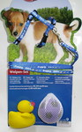 TRIXIE Шлейка с поводком для щенка с двумя игрушками 23-34см /8 мм, длина поводка 2м, цвет синий