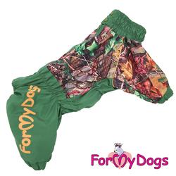 ForMyDogs Дождевик для больших пород собак зеленый, модель для мальчиков, размер С2
