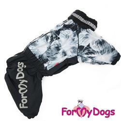 ForMyDogs Дождевик для крупных собак черно/серый, модель для мальчиков, размер С3
