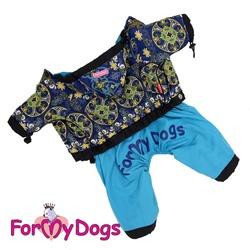 ForMyDogs Дождевик для собак синий, модель для мальчиков, размер 14