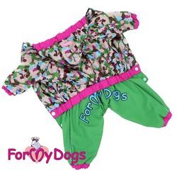 ForMyDogs Дождевик для собак зеленый, модель для девочек, размер 8