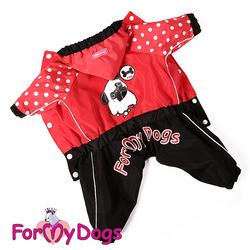 ForMyDogs Дождевик для собак красный, модель для девочек, размер 12, 14, 16