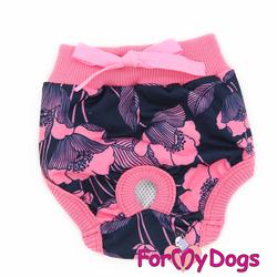 """ForMyDogs Трусики для собак """"Маки"""" черно/розовые для девочки, размер 12"""