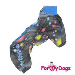 """ForMyDogs Комбинезон для такс """"Космос"""" из мембраной ткани серый размер ТМ1, модель для мальчиков"""