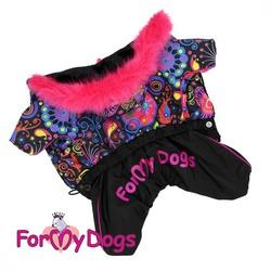ForMyDogs Тёплый комбинезон для собак черно/розовый, размер 20, модель для девочек