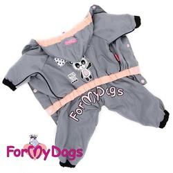 """ForMyDogs Дождевик для собак """"Панда"""" серый, модель для девочек, размер 18, 20"""