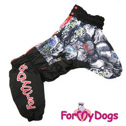 """ForMyDogs Комбинезон для больших собак """"Бабочки"""" черный, модель для девочек, размер D2"""