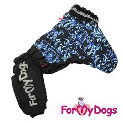 ForMyDogs Комбинезон для крупных собак черно/синий, модель для девочек, размер D1