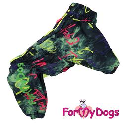 ForMyDogs Комбинезон для крупных собак черный/неон, модель для мальчиков, размер С2, С3, D1, D2