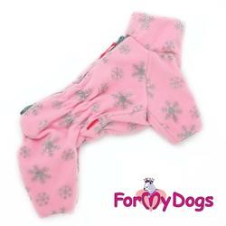 """ForMyDogs Комбинезон для средних собак из флиса """"Снежинки"""", модель для девочек, розовый, размер 22"""