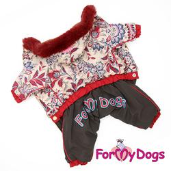 ForMyDogs Комбинезон для собак беж/коричневый, размер 16, модель для девочек