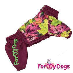 """ForMyDogs Дождевик для крупных собак """"Листья"""", бордовый, модель для девочки, размер D1, D2"""
