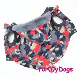 ForMyDogs Куртка для крупных собак серо/красная, размер D1