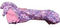 ZooPrestige Комбинезон на флисе для таксы, синий/орнамент, размер ТМ2, спина 40см