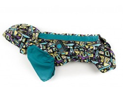 ZooPrestige Дождевик для французского бульдога, бирюза/орнамент, размер ФР-1, спина 40см