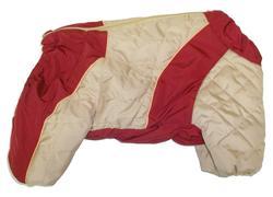 LifeDog Комбинезон для мопса, беж/красный, синтепон, размер 5, спина 33-35см