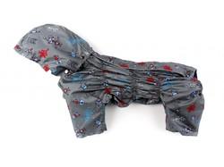 ZooPrestige Дождевик для собак Дутик, серый/робот, размер L, спина 32-36см