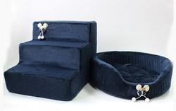 LuxDog Лестница для собак синяя, плюш, 2 размера