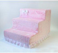 LuxDog Лестница для собак Candy розовая, плюш, 3 размера