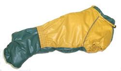 LifeDog Комбинезон для таксы, утепленный, на синтепоне, беж/зеленый, размер №2, спина 39-43см