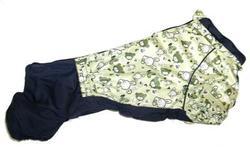 LifeDog Комбинезон для таксы, утепленный, на синтепоне, черно/салатовый Зверята, размер №2, №3