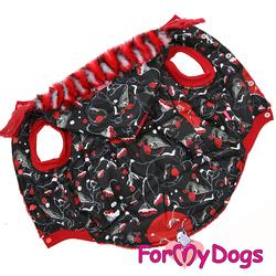 ForMyDogs Куртка для крупных собак Снегири черная, размер C3, D1