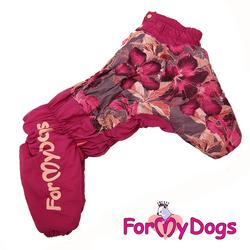 ForMyDogs Комбинезон для средних собак Цветы бордо, модель для девочек, размер А2