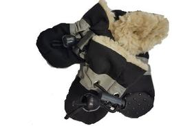 Al1 Ботиночки для собак теплые с мехом черные, размер №2, №4