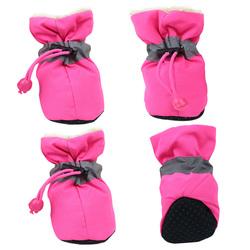 Al1 Ботиночки для собак теплые с мехом розовые, размер №1, №2