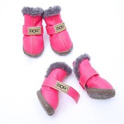Al1 Сапожки для собак теплые с мехом розово-фиолетовые на резиновой подошве, размер №1, №3