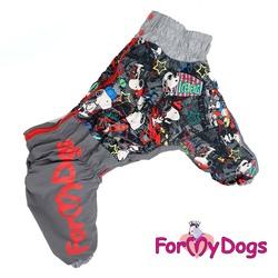 """ForMyDogs Комбинезон для больших собак """"Снупи"""" серый, модель для мальчиков, размер С3, D1, D2"""