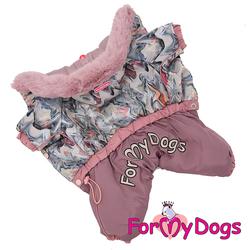 """ForMyDogs Теплый комбинезон для маленьких собак """"Зима"""" сиреневый, размер №10, №12 модель для девочек"""