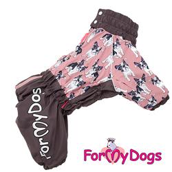 """ForMyDogs Комбинезон для Вест хайленд уайт терьера """"Собачки"""", коричневый/розовый модель для девочек, размер А0"""