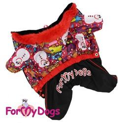 """ForMyDogs Теплый комбинезон для маленьких собак """"Снеговик"""", размер №18, модель для девочек"""