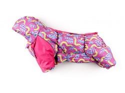 ZooAvtoritet Комбинезон зимний для французского бульдога, на флисе, розовый/орнамент, размер ФР2, длина спины 42-44см