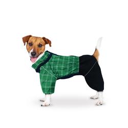 ZooTrend Комбинезон для средних пород собак, зеленая клетка/черный, размер 3XL, спина 47см